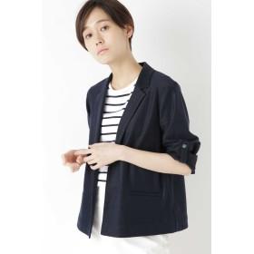 HUMAN WOMAN ◆麻/ポリエステルジャージージャケット テーラードジャケット,ネイビー