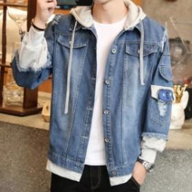 デニムジャケット ゆったり 大きいサイズ カジュアル ダメージ メンズ おしゃれ お兄系 学生 かっこいい デニム 春 秋 韓国風
