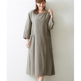 シャンブレーギャザーポケットワンピース (ワンピース),dress