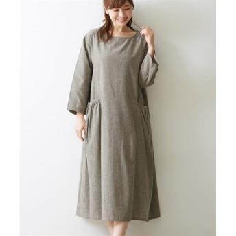 シャンブレーギャザーポケットワンピース (ワンピース)Dress