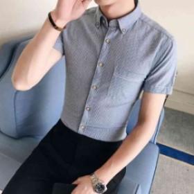 夏の新品!半袖シャツ Tシャツ カジュアルシャツ 上着 快適通気 ファッション 無地 ビジネス メンズ 縞 通勤