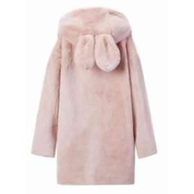 雪ウサギ耳 フワフワ ファーコート アウター モコモコ素材 コート アウター パーカー 暖かい オーバーサイズ フェイク感 軽い