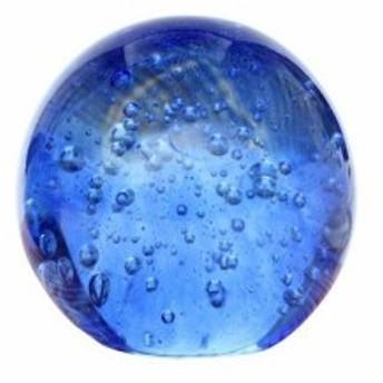 【訳あり】置物 ペーパーウェイト 海の中のように泡立つ気泡 ガラス製 丸型 ブルー