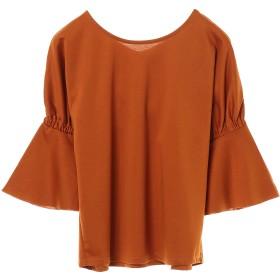 PAREA'TSU 丸首 ビッグ プルオーバー 2way7分袖 Tシャツ・カットソー,ブリック