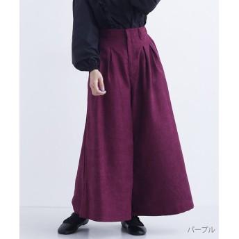 メルロー コーデュロイタックワイドパンツ レディース パープル FREE 【merlot】