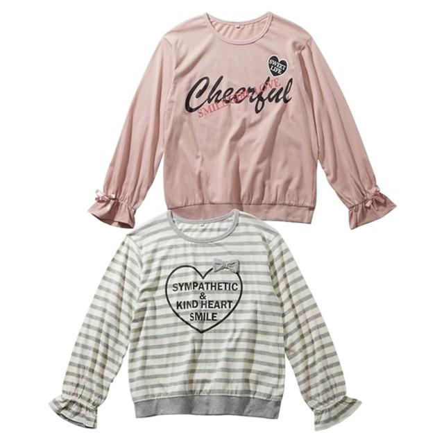 デザインTシャツ2枚組(女の子 子供服。ジュニア服) Tシャツ・カットソー