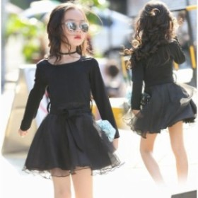 子供服 ワンピース 可愛い チュールワンピース 入學式 発表會 卒業式 結婚式 ピアノ キッズ ドレス ふんわりー ブラック 黒