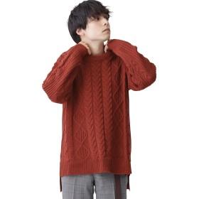 (モノマート) MONO-MART オーバーサイズ アラン編み ヘムライン BIG ケーブル ニット セーター メンズ テラコッタ フリーサイズ