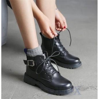 ブーツ レディース ショートブーツ 秋 マーティンブーツ アンクルブーツ 冬 シューズ 靴 ローヒール ぺたんこ