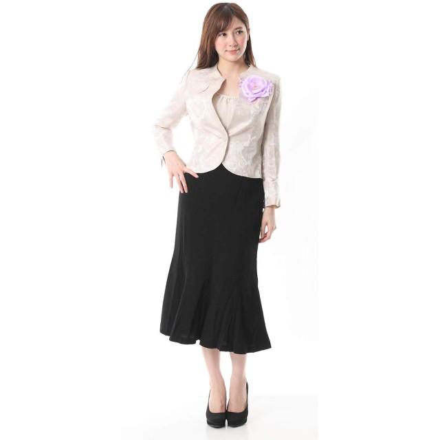 薔薇柄ジャガードジャケットロングスカートスーツ 633(05/22/75-AM8) 13号 05. ベージュ