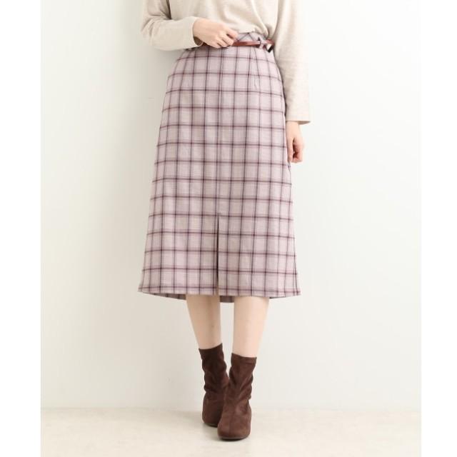 【マジェスティックレゴン/MAJESTIC LEGON】 ベルト付チェックIラインスカート