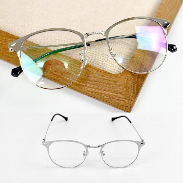 鏡框 銀色圓半框金屬平光眼鏡【NY461】。手錶與流行飾品人氣店家柒彩年代的眼鏡框、造型特色有最棒的商品。快到日本NO.1的Rakuten樂天市場的安全環境中盡情網路購物,使用樂天信用卡選購優惠更划算