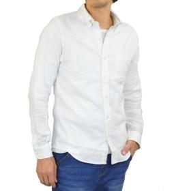 [アダマス] ネルシャツ ボタンダウン 無地 長袖 メンズ ホワイト L