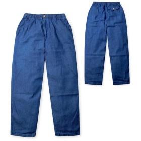 (ネイビー/L)メンズ ロング パンツ ボトム デニム ジーンズ 無地 丈直し不要 ウエストゴム カジュアルパンツ 股下66cm 紳士