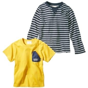 色々着まわせるトップス2点セット(半袖Tシャツ+長袖Tシャツ)(男の子 子供服) (Tシャツ・カットソー)Kids' T-shirts, T恤