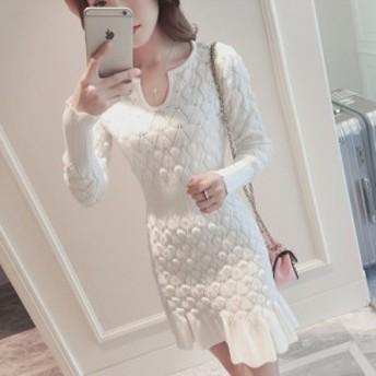 韓国ファッション 春物綺麗め フリルが可愛い膝丈ワンピース