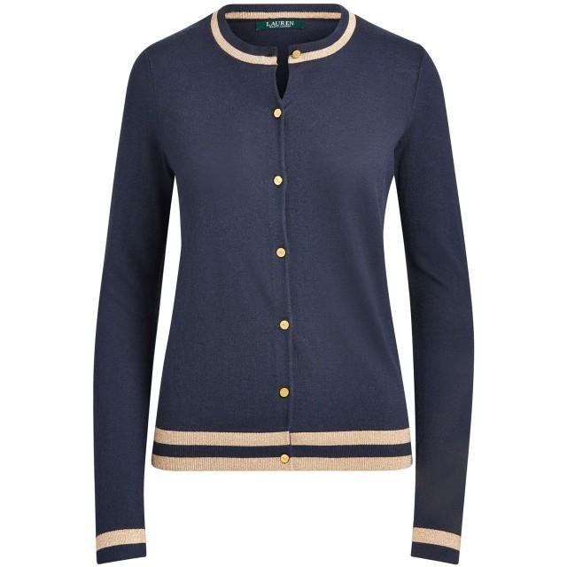 《期間限定セール開催中!》LAUREN RALPH LAUREN レディース カーディガン ダークブルー XS コットン 60% / レーヨン 40% Cotton Modal Portia Long Sleeve Sweater