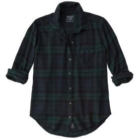 [Abercrombie & Fitch(アバクロンビーアンドフィッチ] アバクロ レディース フランネル チェックシャツ ネルシャツ ロゴパッチ ダークグリーン Sサイズ [並行輸入品]