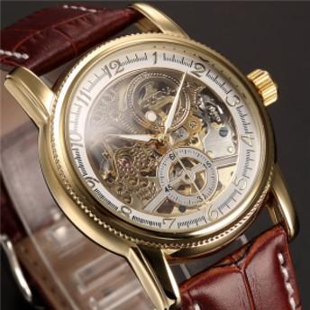ORKINA メンズ腕時計 機械式 自動巻き スケルトン レザーバンド スチームパンク MG016