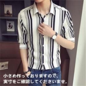 メンズシャツ ストライプ 七分袖シャツ カジュアルシャツ ビジネス スリム 涼しい おしゃれ 細身 夏物