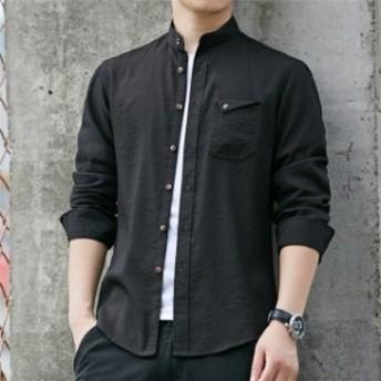 メンズ カジュアルシャツ 長袖シャツ 通勤シャツ 原宿系 無地シャツ 大きいサイズ ゆったり 秋シャツ