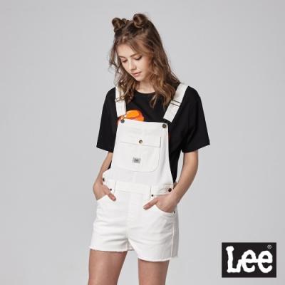 Lee 牛仔吊帶短褲 女 白