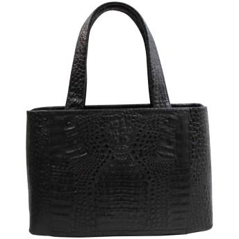 カイマン バッグ ハンドバッグ サイズ大 ヘッド クロコダイル バッグ ワニ本革 ブラック