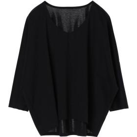 PAREA'TSU Vネック ビッグ プルオーバー 8分袖 Tシャツ・カットソー,ネイビー