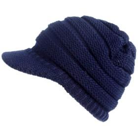 COMVIP 柔らかい ニット帽子 レディース つば付き帽子 ファッション ニットキャスケット 純色 シンプル 秋冬 おしゃれ シンプル 人気 タイプA-ネイビー