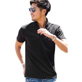 (キャバリア)CavariA メンズ 半袖 ポロシャツ イタリアンカラー シェブロン柄 タイト 細身CAST19-86 46(L) 90(BLK/ブラック)【-】