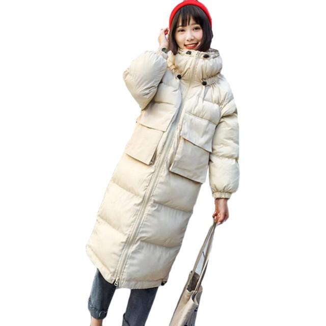 DeBangNi レディース ダウンジャケット 冬 厚手 ロングコート 無地 暖かい フード付き ダウンコート イングランド風 通勤 アウター スリム 着やせ 軽量 防寒服 膝下丈 (2XL, ベージュ)