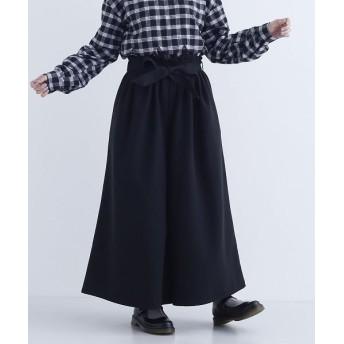 メルロー ウエストリボンタックワイドパンツ レディース ブラック FREE 【merlot】