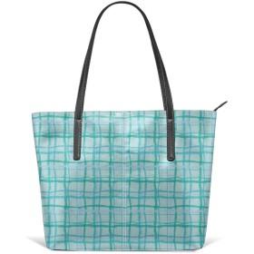 女性PUレザーショルダーバッグ大容量のための青い浜の格子縞の明るいトートバッグ