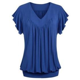 Tシャツ 半袖 Duglo レディース 春 タンクトップ 快適 トップス 旅行 セクシー 肌触り良い 日常 シンプル 女性 Vネック 夏 ブラウス 可愛い 大きいサイズ 上着 カジュアル (5XL, ブルー)