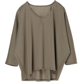 PAREA'TSU Vネック ビッグ プルオーバー 8分袖 Tシャツ・カットソー,グレージュ