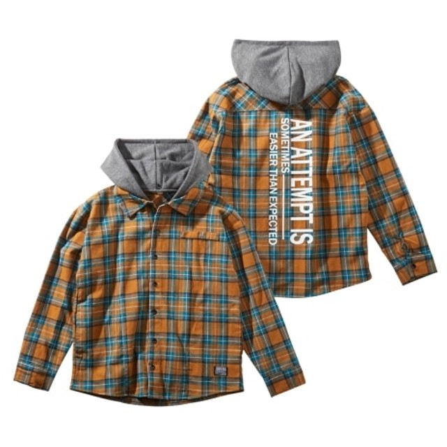 フード取外しできるチェック柄長袖シャツ(男の子 子供服。ジュニア服) (はおりもの)