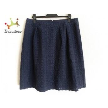 ニジュウサンク 23区 スカート サイズ46 XL レディース ネイビー 刺繍/花柄 新着 20190905