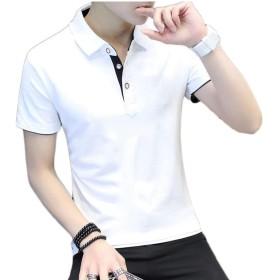 Qiangjinjiu メンズボタンアップシャツ半袖ラペルTシャツクラシックスリムフィットトップ 2 L