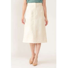 30%OFF NATURAL BEAUTY (ナチュラルビューティ―) 配色ステッチ台形スカート ベージュ(040)