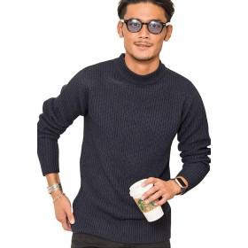 (ビッチ)VICCI メンズ セーター ニット モックネック ストレッチ 畦編み 長袖 ボーダー柄VIJP18-09 46(L) NAVY【+】