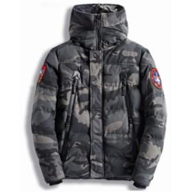 迷彩中綿ジャケットあったか ショート ミリタリー 防風フード 防寒 厚手 カモフラ柄 秋冬メンズファッション
