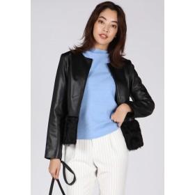 VICKY ラムレザー×ムートン切り替えジャケット テーラードジャケット,ブラック