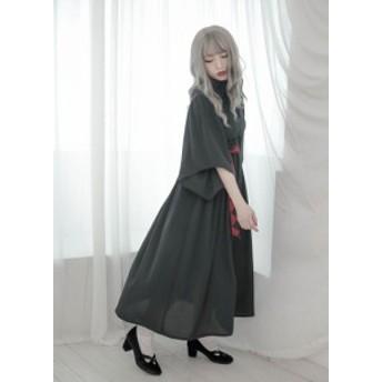 ゴシックロリータ ロリータファッション 腰リボン付き ロリータドレス lolita 聖夜の魔女 ロング丈 長袖 ワンピース