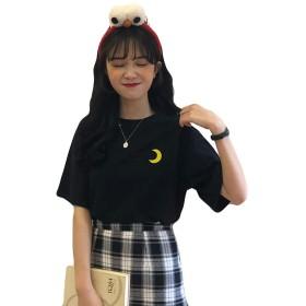 YiTongレディース tシャツ 黒 着痩せ 刺繍 可愛い カットソー トップス 夏服 シンプル 半袖 カットソー 韓国風 通勤 涼しい ゆったりブラック