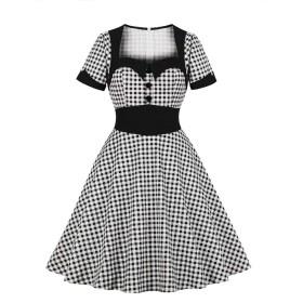 MISSVIN 女性のストライププリントネクタイポケットヴィンテージボタンダウンシャツドレス