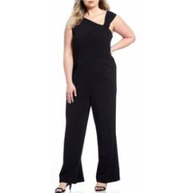 カルバンクライン レディース ジャンプスーツ トップス Plus Size Asymmetrical Neck Sleeveless Jumpsuit Black