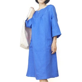 cocochiyoi リネン100% ラウンドネック 胸切り替えタック 7分袖ワンピース ポケット付き 【ONE SIZE】(瑠璃色,M)