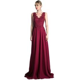 [アールズガウン]演奏会 ドレス ロングドレス 演奏会用ドレス 大きいサイズ インポート フォーマル 刺繍 赤 紫 ピンク FD-230037 (M, バーガンディ)