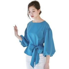 トップス ブラウス 袖コン ボリューム バルーン袖 リボン レディース Lサイズ ブルー 10tp4905-bl-L