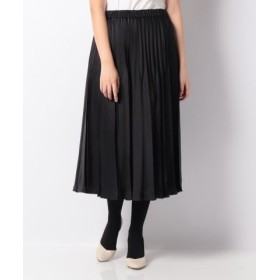 (LAPINE BLEUE/ラピーヌ ブルー)サテンプリーツスカート/レディース ブラック